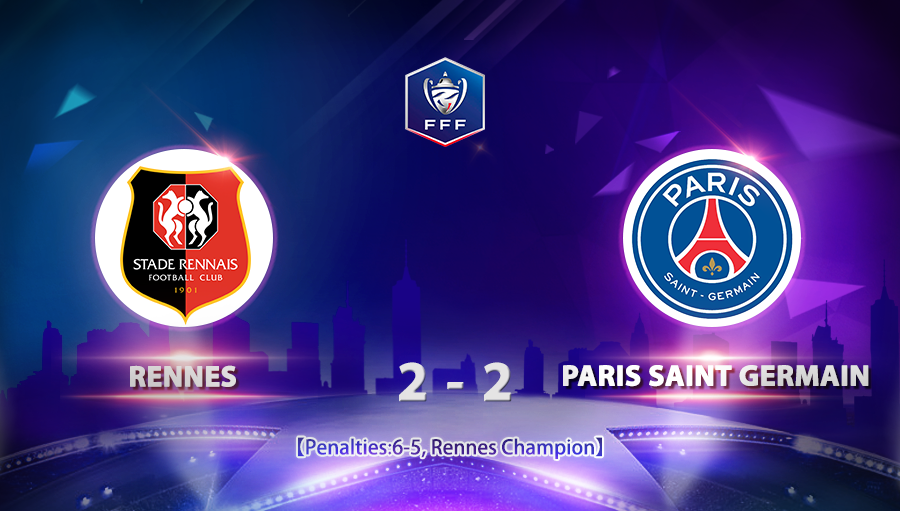 Rennes 2-2 Paris Saint Germain (6-5pen)